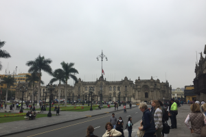 Government Palace in the Plaza Mayor of Lima.