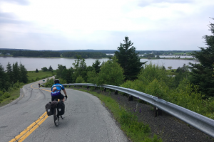 Figure 11: A typical view from one of many rolling hills along coastal Nova Scotia. Many short descents made for photo ops that made roadies back at home keen to hit some pavement!