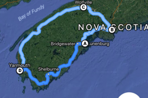 Figure 2: Rough bicycle route from Yarmouth to Halifax and back (with plenty of opportunities for getting lost.
