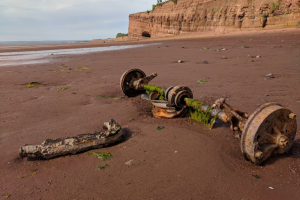 Figure 8: The Bay of Fundy is home to the world's most extreme tides. Low tide affords great opportunities for beachcombing, and reveals all manner of lost treasure!