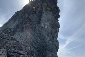 Mike leading up the crux tower