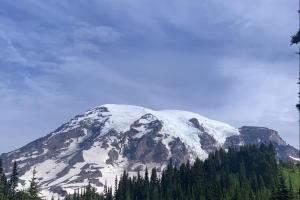 A view of Rainier, with the Turtle Snowfield and Kautz Glacier left of center.