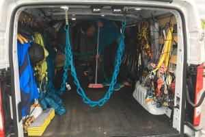 The interior of the van after a recovery day