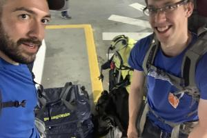 Arriving at SEA-TAC with all of our gear