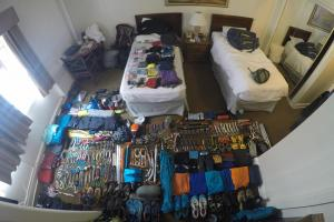 A spread of our gear at our first hotel room