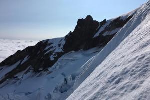 Steep terrain on the upper ridge