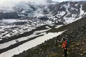 Staring out over the Nisqually Glacier