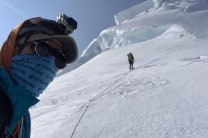 "Preparing to navigate the ""secret passage"" to the summit ice cap"