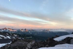 Sunset over Mt. Adams and Mt. St. Helens