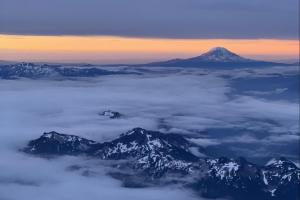 The sunrise illuminating Mt. Adams